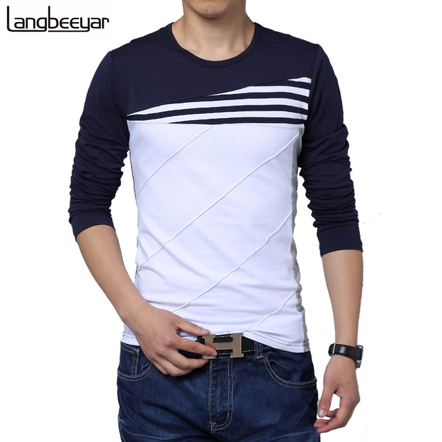 Hot Sale 2017 New Fashion Brand O-Neck Trend Long Sleeve T Shirts Men Slim Fit Cotton High-quality Casual Men T-Shirt 4XL 5XL