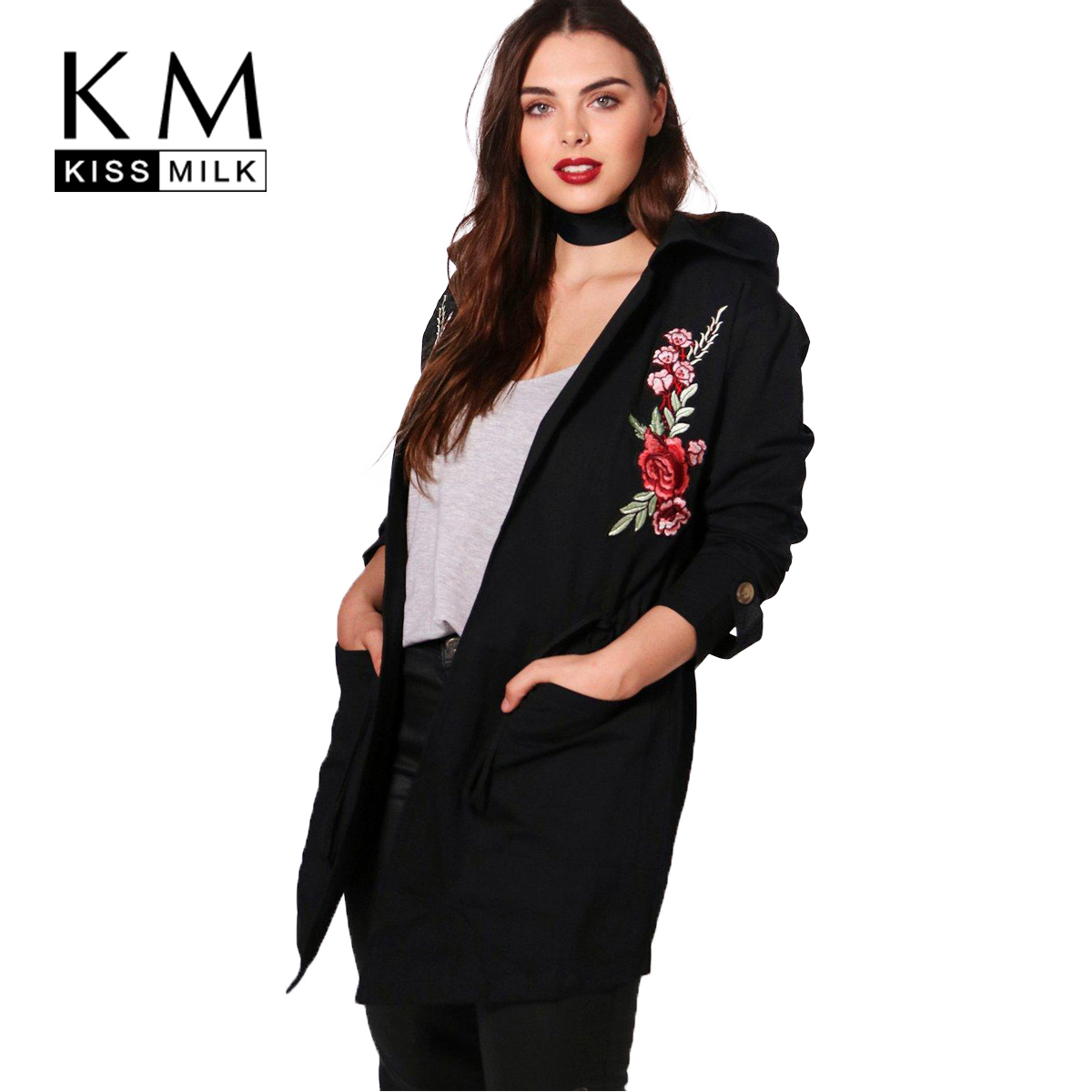 kissmilk 2017Plus Size Solid Casual Women   Trench   Coat Floral Embroidery Zipper Hooded Female Adjustable Waist Big Size Outwears