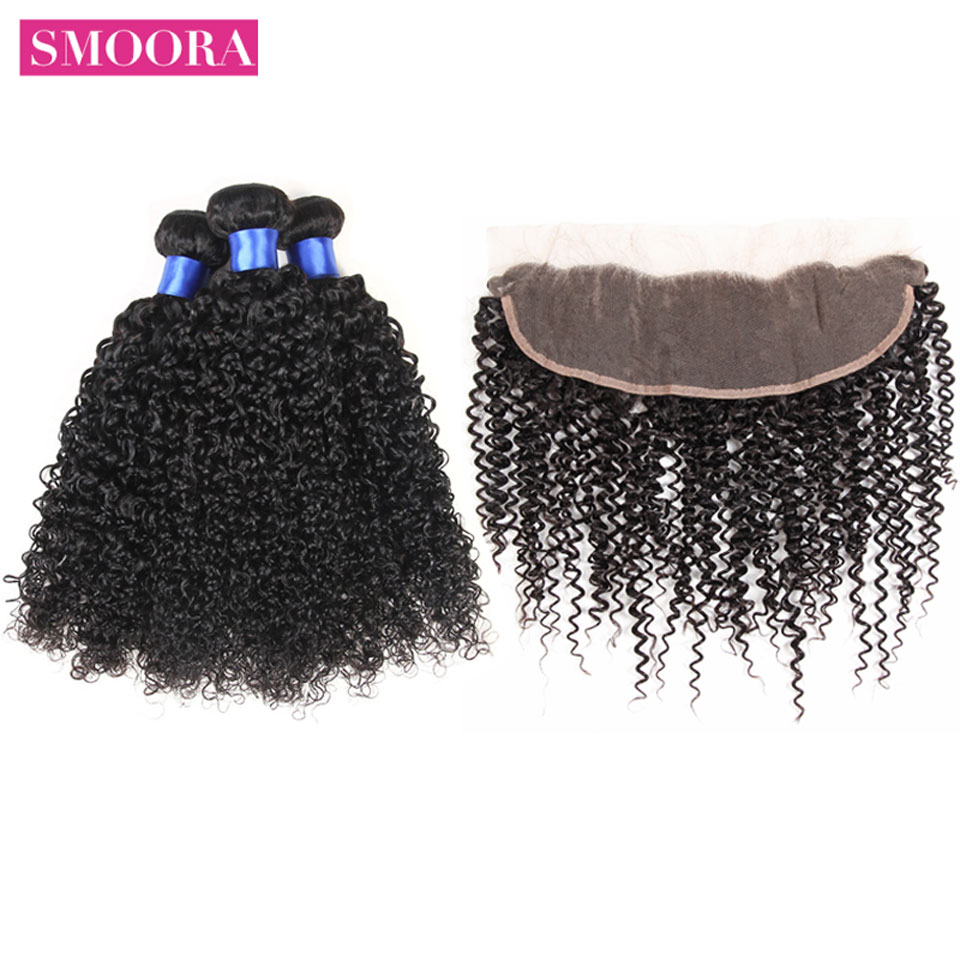 Malaysian Kinky Curly Hair Extension Frontal With Bundles Kinky Curly Ear to Ear Lace Frontal With Hair Weave Bundles 4 PCS/LOT
