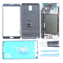 Original Full Housing Cover Case For Samsung Galaxy Note 3 N9005 4G N900 3G Front Glass Outer Lens Camera Lens+Adhesive Tools