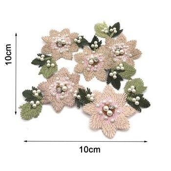 Parche de flores bordado en T de 10x10cm, pegatina de prensa, parches lavables de transferencia de costura para mujeres, sudaderas con capucha, bolsa para pantalones, Collar