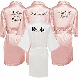 Image 1 - new bride bridesmaid robe with white black letters mother sister of the bride wedding gift bathrobe kimono satin robes