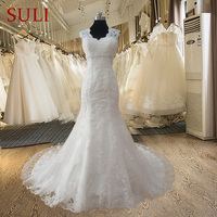 FF19 Charming V Neck Long Tulle Mermaid Wedding Dress 2015 With Lace Appliques Chapel Train Free