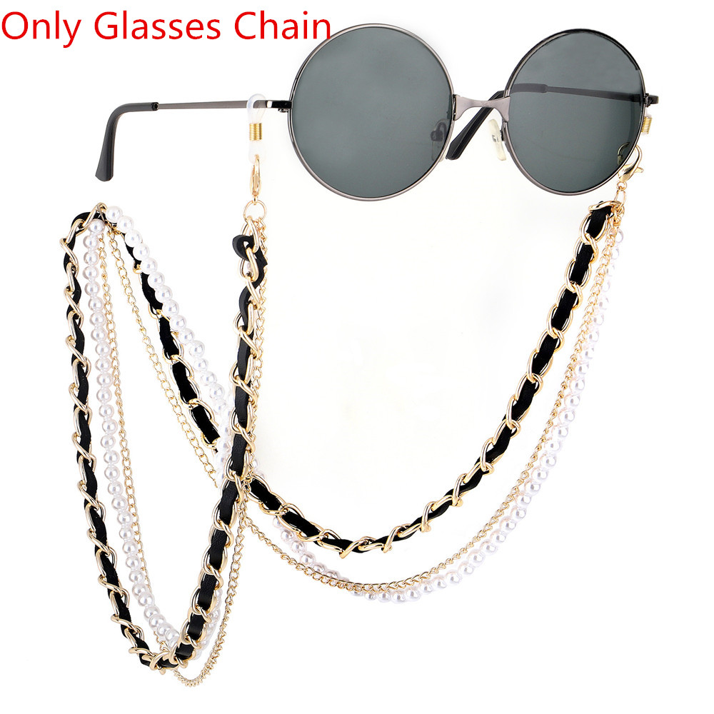 1Pcs New Arrival Fashion Pearl Leather Glasses Chain Trending Luxury Golden Silver Glasses Holder Lanyard Straps Neck Chain