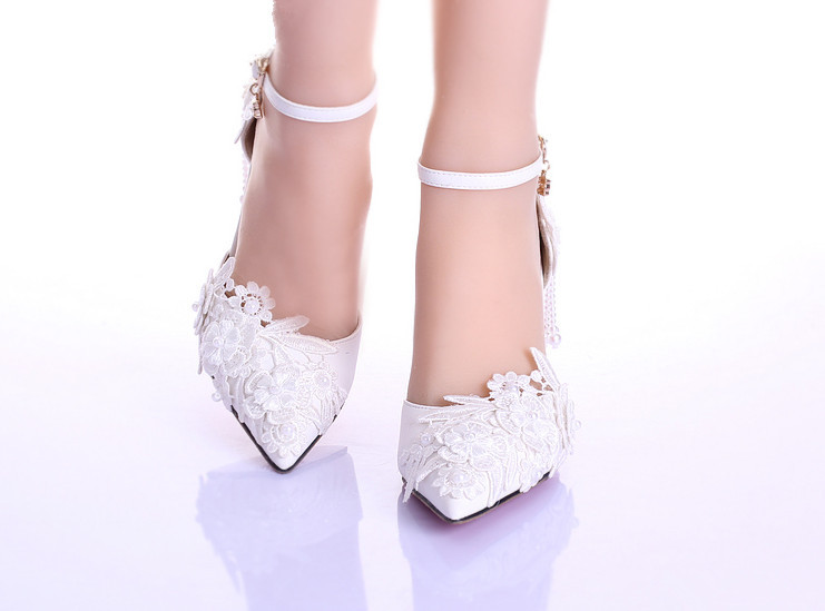 Aliexpress.com : Buy Summer new women white wedding shoe lace ...
