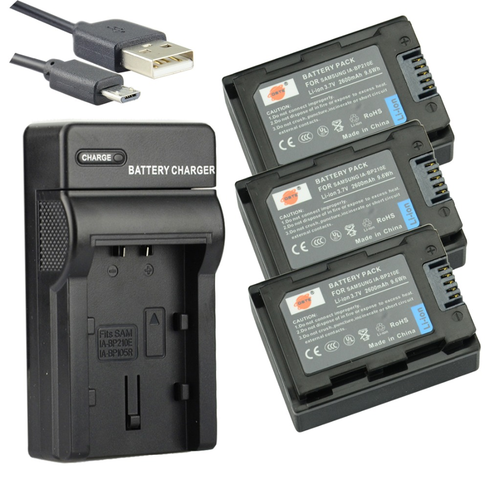 ФОТО DSTE 3pcs IA-BP210E Li-ion Battery + UDC105 usb charger For Samsung HMX-S10 HMX-S15 HMX-S16 HMX-F80BP HMX-F800BP