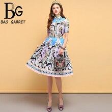 Baogarret Summer Fashion Designer Vintage Suits Womens Beading Shirt+Geometric Printed Pleated Elegant Skirt 2 Pieces Set