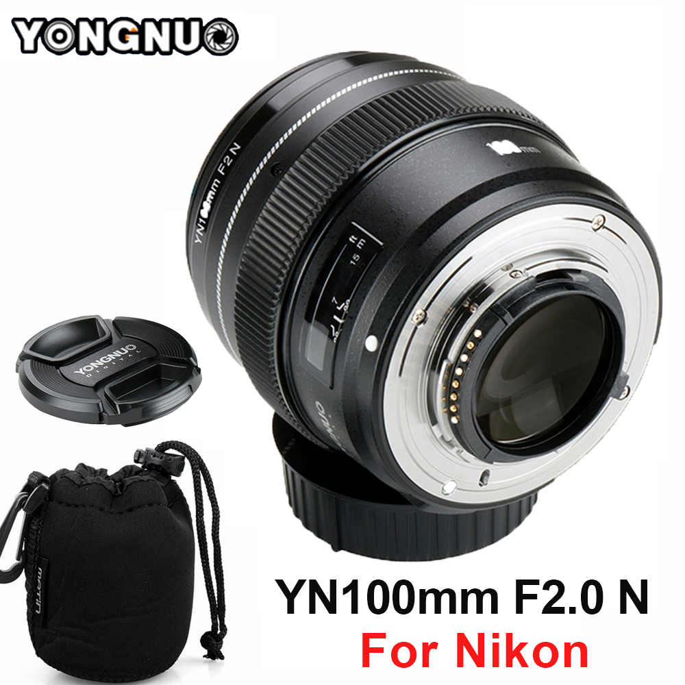 YONGNUO 100mm Lentille YN100mm F2.0 AF/MF Fixe Focus Lens pour Nikon F Mount D3200 D3400 D3100 D5300 d7200 D7100 pour DSLR Caméra