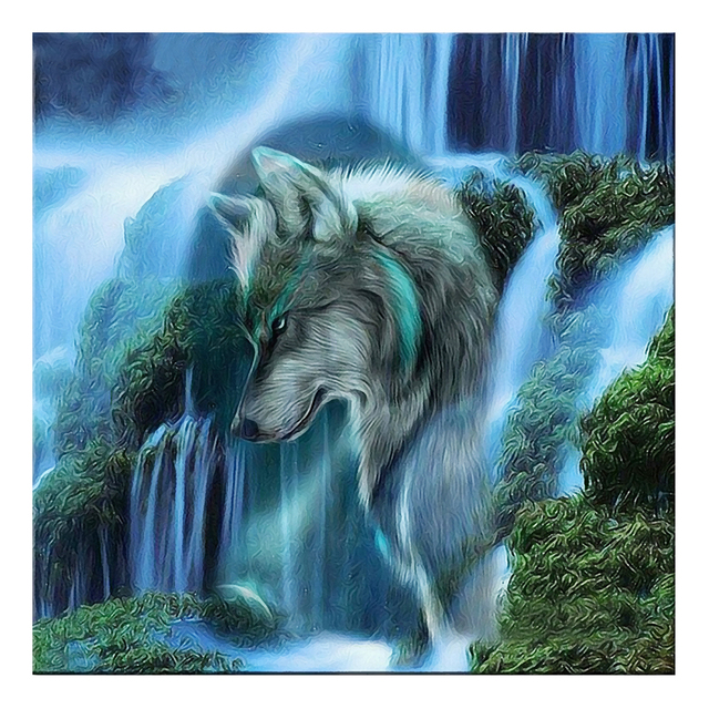 Buy wolf 5d diy diamond painting cross for Decor zippay