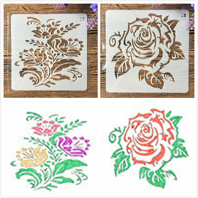 2Pcs/Lot 13cm Rose Flower Leaves DIY Craft Layering Stencils Painting Scrapbooking Stamping Embossing Album Paper Template