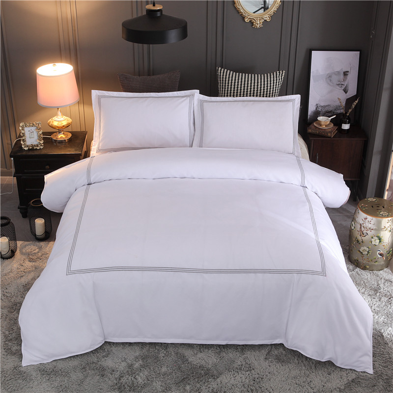 Bonenjoy Hotel Bedding Set Queen King Size White Color Embroidered Duvet Cover Sets Hotel Bed Linen