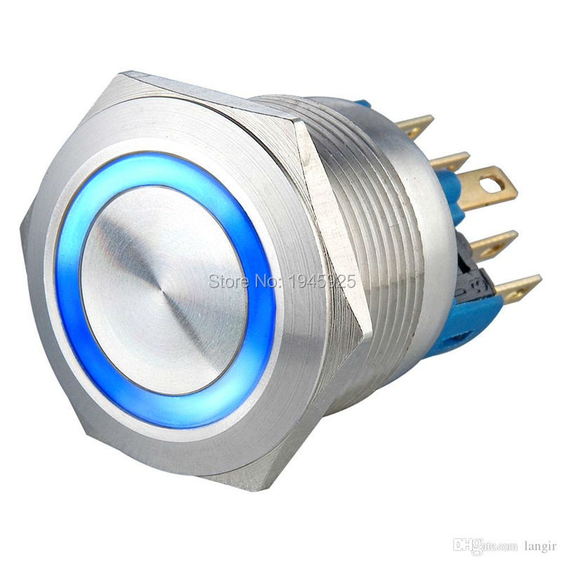 (10 Pieces/lot) 22mm Flat Head stainless Steel Momentary Latching 1no1nc Push Button switch 24V Blue LED