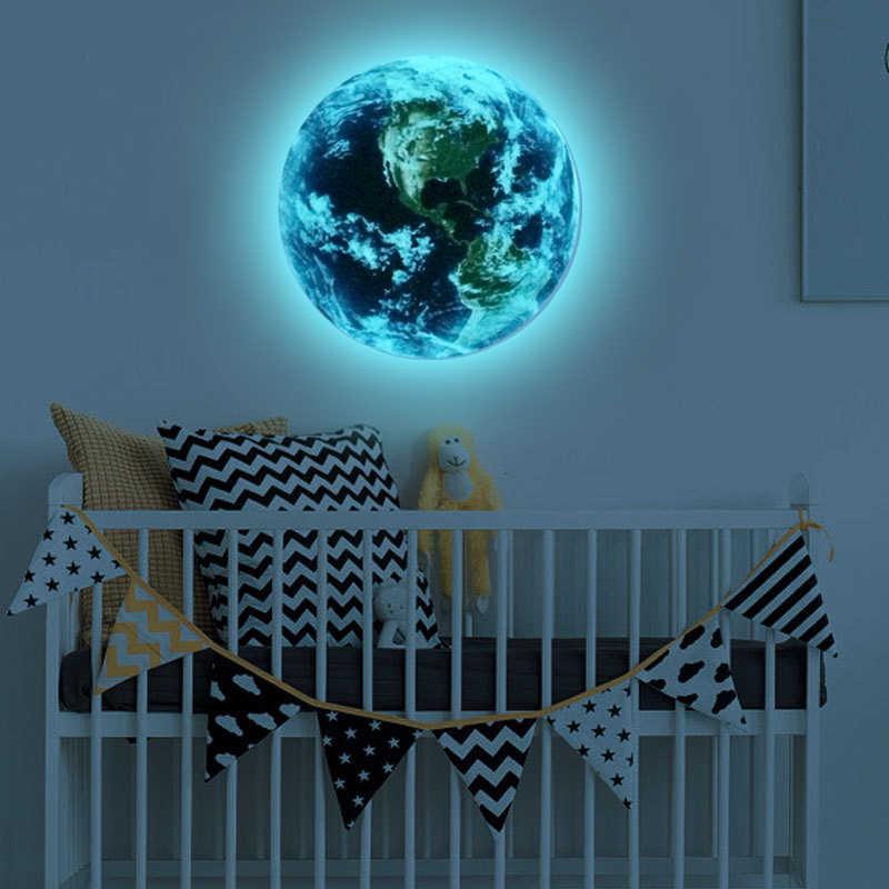 3D ملصقات جدار للأطفال غرف الأزرق ضوء الأرض توهج في الظلام ستار ملصقات جدار للأطفال غرف ديكور المنزل غرفة المعيشة