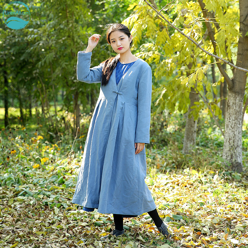 LinenAll dress sky blue original design linen loose long design loose wadded jacket cotton-padded jacket cotton-padded female zi linenall women parkas loose medium long slanting lapel wadded jacket outerwear female plus size vintage cotton padded jacket ym