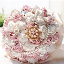 MissRDress Artificial Rose Wedding Bouquets Pearls Pink Bridal Bouquets Flowers For Wedding Accessories De Marriage JK305