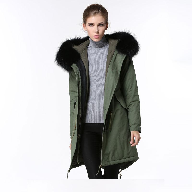 Модные весенние пальто унисекс из меха енота с капюшоном из чистого хлопка женские Длинная Куртка