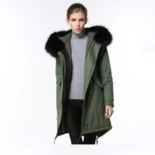 Fashion spring coats unisex raccoon fur hooded pure cotton women long jacket