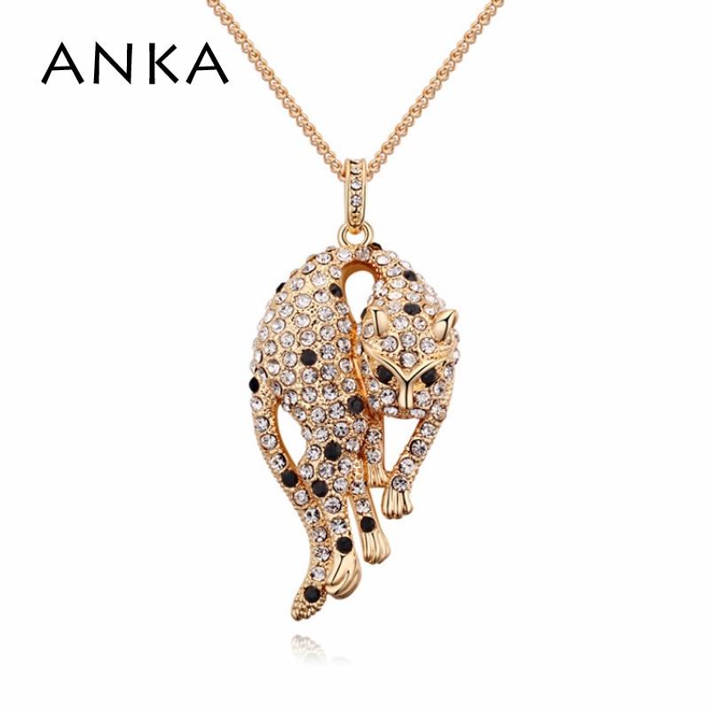 ANKA Top Fashion, настоящая классика, леопардовое ювелирное изделие, австрийский хрусталь, золото, подвеска, ожерелье для женщин 2020 #110594|fashion necklace|necklace fashionnecklaces for women | АлиЭкспресс