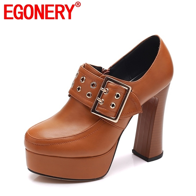 EGONERY side zipper buckle platform office lady concise career fashion shoes ethnic comfortable skid resistance woman pumps