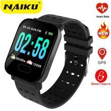 Reloj inteligente deportivo A6 para iOS y Android, reloj inteligente deportivo con control del ritmo cardíaco y de la presión sanguínea, llamadas y recordatorios para hombre