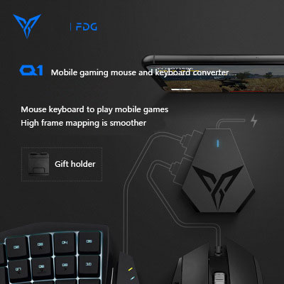 US $40 84 5% OFF|Flydigi Q1 PUBG mobile game keyboard mouse converter  auxiliary game controller wireless Bluetooth connection support  Android/IOS-in