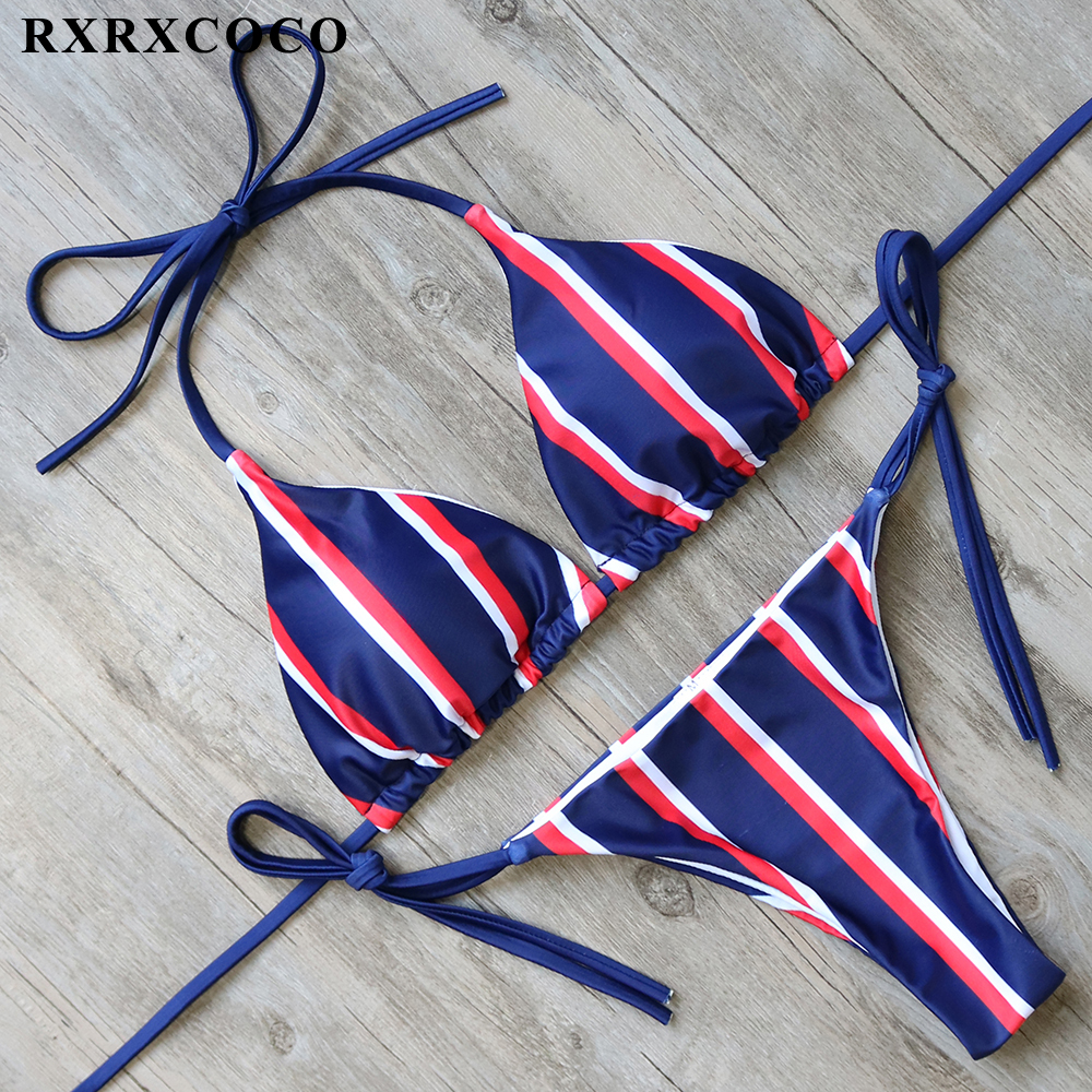 Buy RXRXCOCO New Sexy Bikini 2017 Halter Bandage Swimsuit Women Push Bikini Brazilian Swimwear Summer BeachWear Bathing Suit