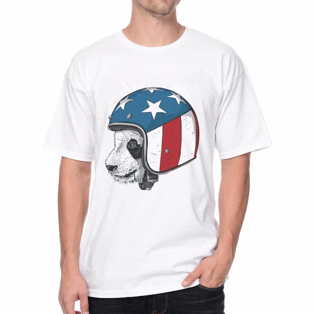 Shirt design usa - Dorable Panda Wearing An Usa Flag Helmet Riding All The Way T Shirt Design Print