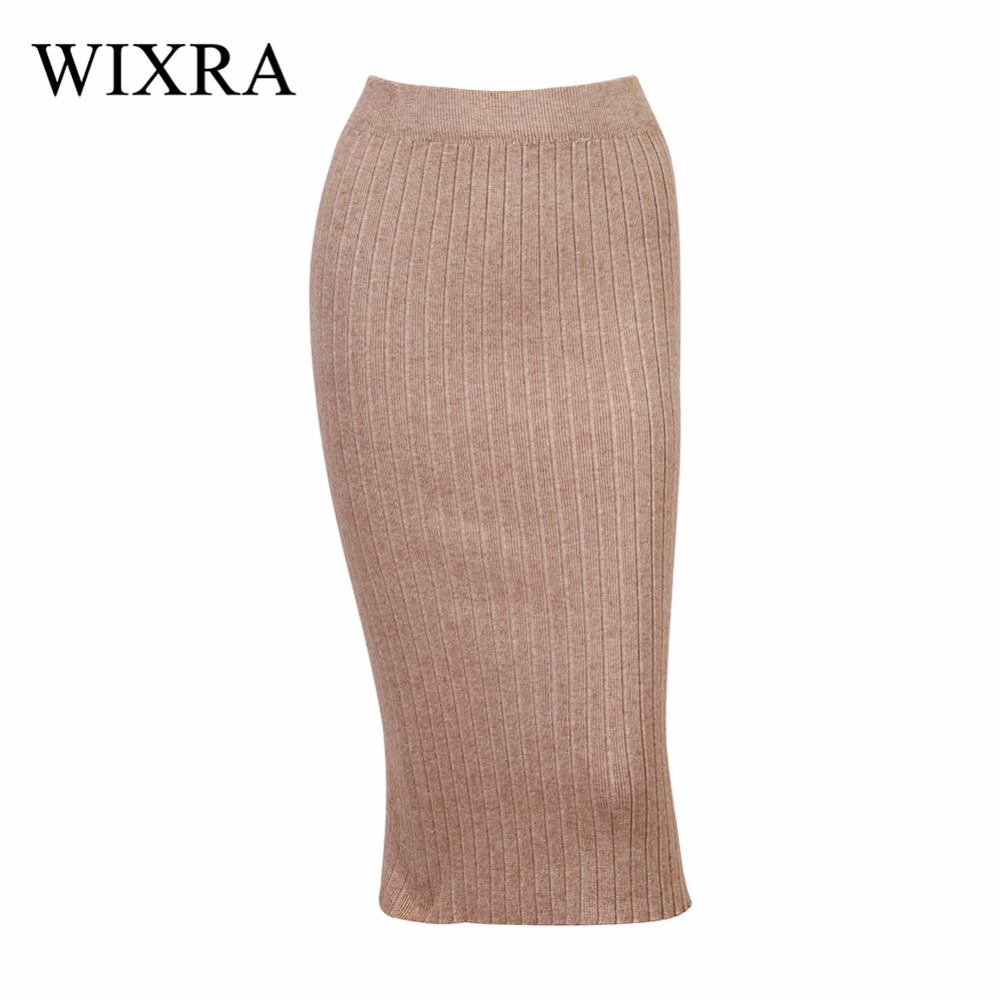 Wixra Basic Skirts 2018 Spring Autumn Long Pencil Skirts Women Sexy Slim Skirt Lady Winter Chic Wool Rib Knitted Midi Skirt