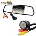"""HD 4.3 """"color Tft Lcd Carro Espelho Retrovisor Monitor + 9 LED Night Vision Impermeável Câmera de Segurança Do Veículo Câmera de Visão traseira"""