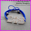 20pcs Good Quality Handmade Bracelet,Silver Plated Crystal rhinestone ZETA PHI BETA with Royal Blue Rope Rope Macrame Bracelet