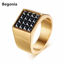 Fashion Gold color Stainless Steel ring Square Black Cz Cubic Zirconia Pave Signet Ring for Men Jewelry wholesale