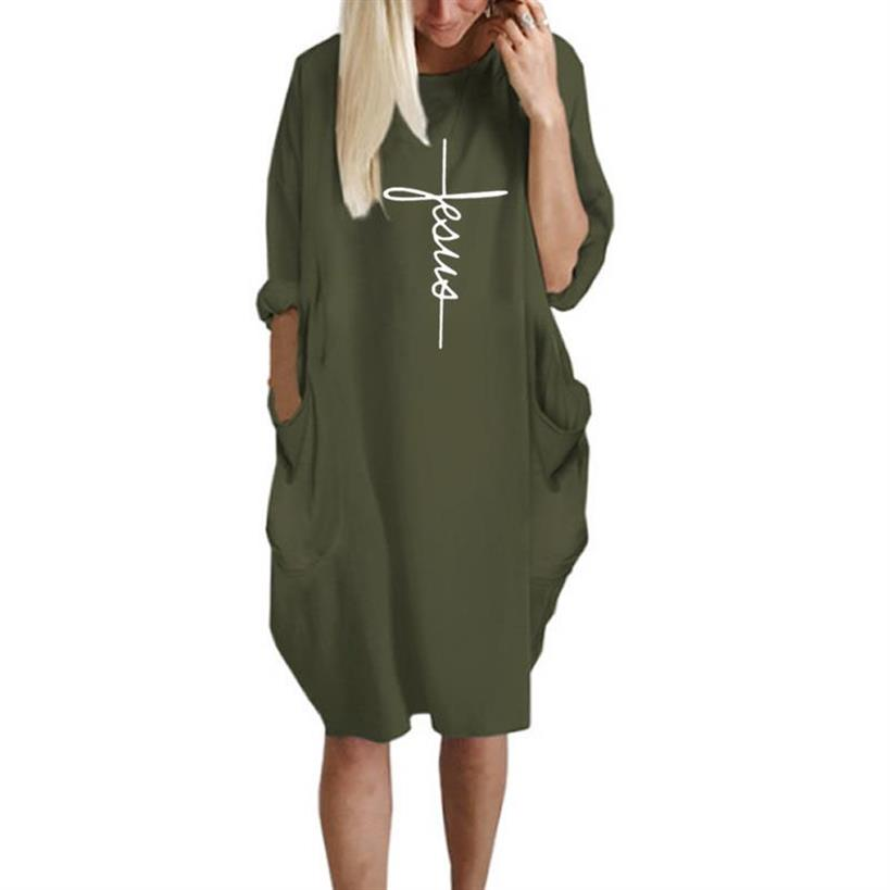 Pocket Faith Letters Print Dress for Women Plus Size Women Dress Tops Vestidos Female Summer Dress 2019 New Arrival Dropshipping in Dresses from Women 39 s Clothing