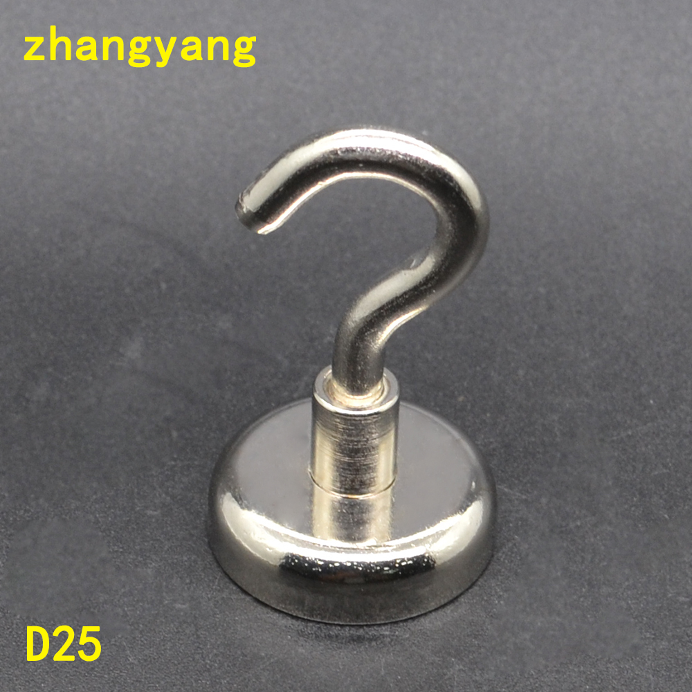 22KG Vertical Pulling Mounting Magnet Dia 25mm Magnetic Pots N52 Hook Attached Strong Magnet Pot Neodymium Magnet