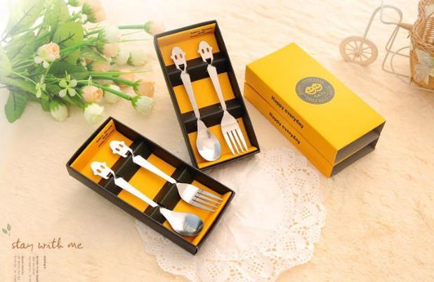 Модные креативные товары для дома из нержавеющей стали счастливой улыбкой уход за кожей лица посуда комплект из двух предметов, набор вилок и ложек подарочной коробке 10 компл./лот