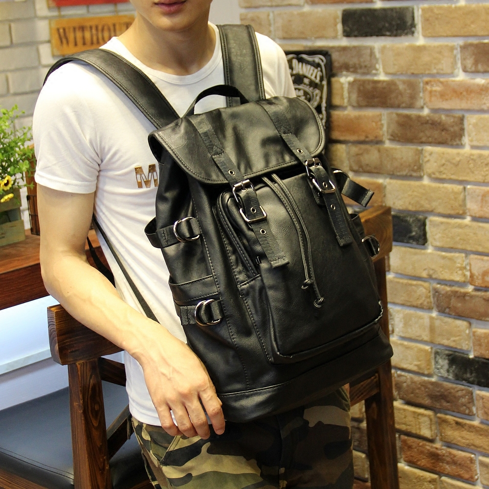 051018 new hot man fashion leather travel backpack student school bag 2