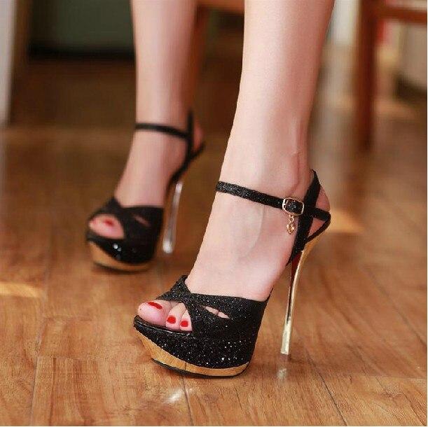 ae4a49785f3 CooLcept princess girls high heel shoes wedding heels dress women heel  sandals Rhinestone sexy platform high heeled shoes 14cm -in Women s Sandals  from ...