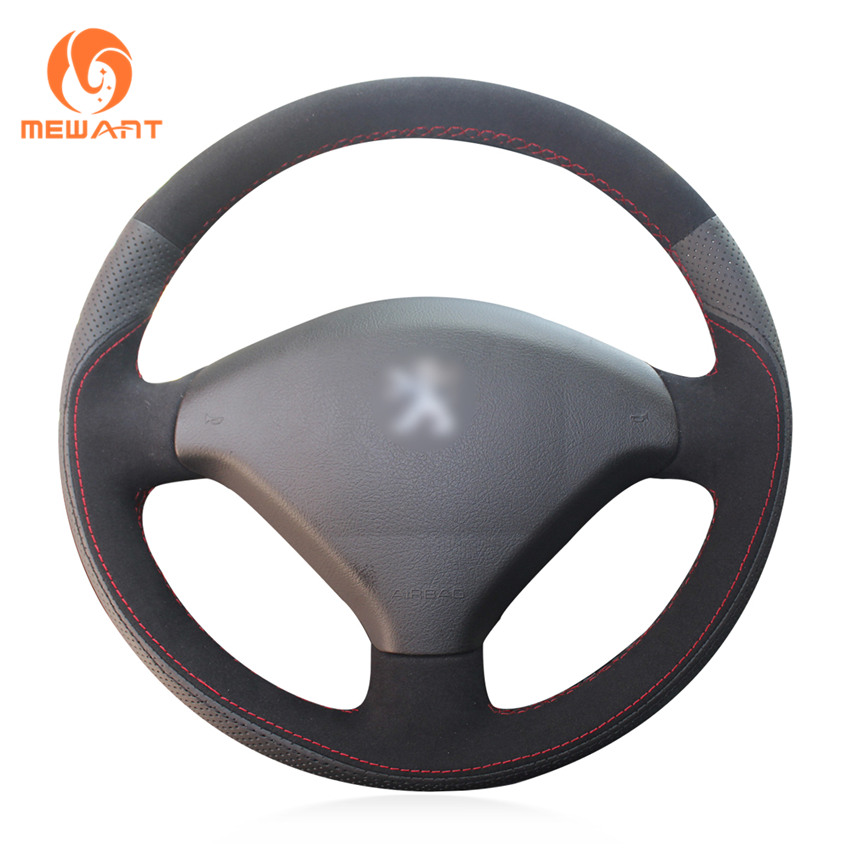 MEWANT Black Genuine Leather Black Suede Car Steering Wheel Cover for Peugeot 307 2001-2008 307 SW 2005-2008 mewant black artificial leather car steering wheel cover for peugeot 206 1998 2005 206 sw 2003 2005 206 cc 2004 2005