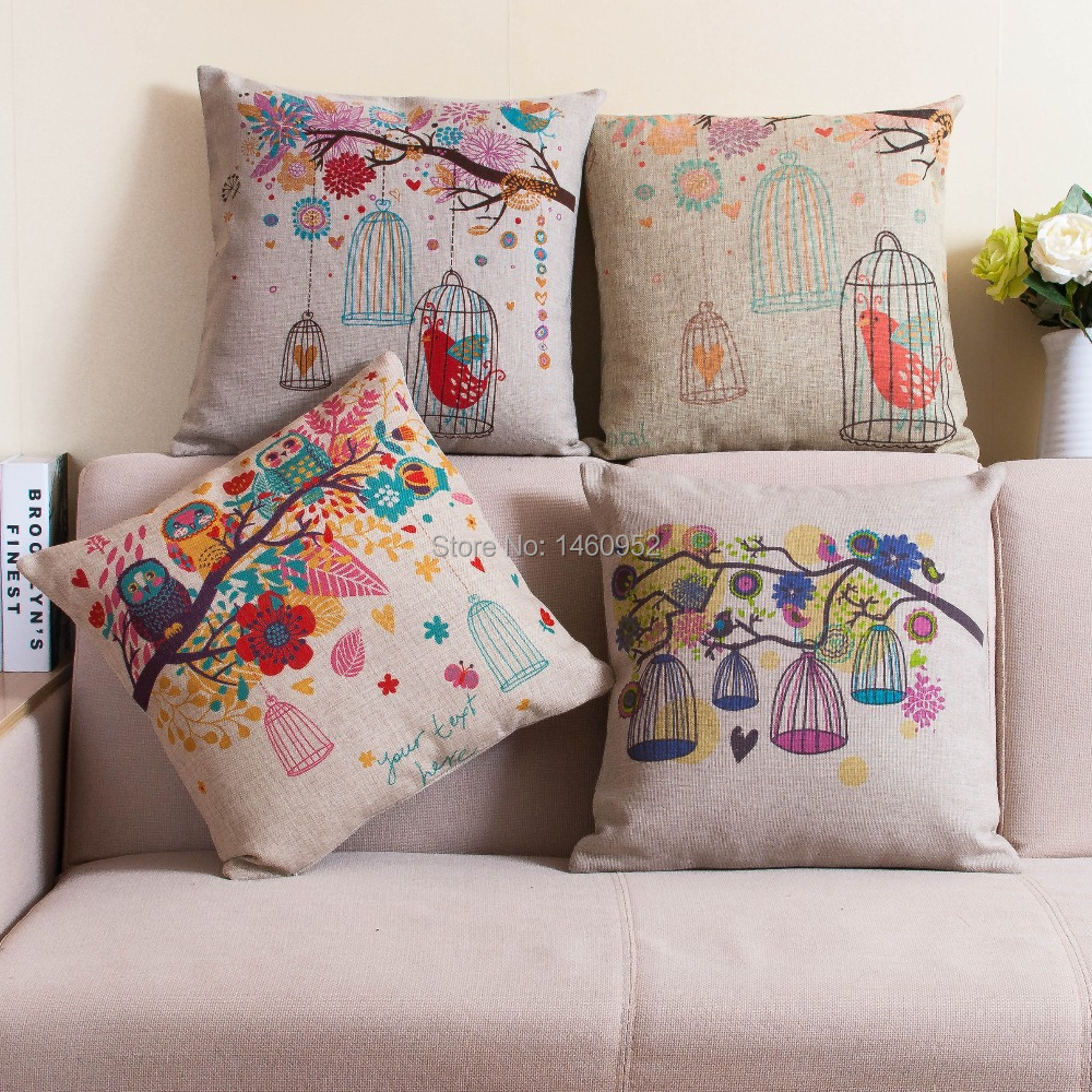 Almofada decorative owl pillows printed bird flower - Cojines grandes para sofas ...