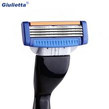 Giulietta Shaving Razor Blade For Men Set 1 Holder & 2 Blades 4 Layers Stainless Steel Manual Shave Razors Navalha De Barbear