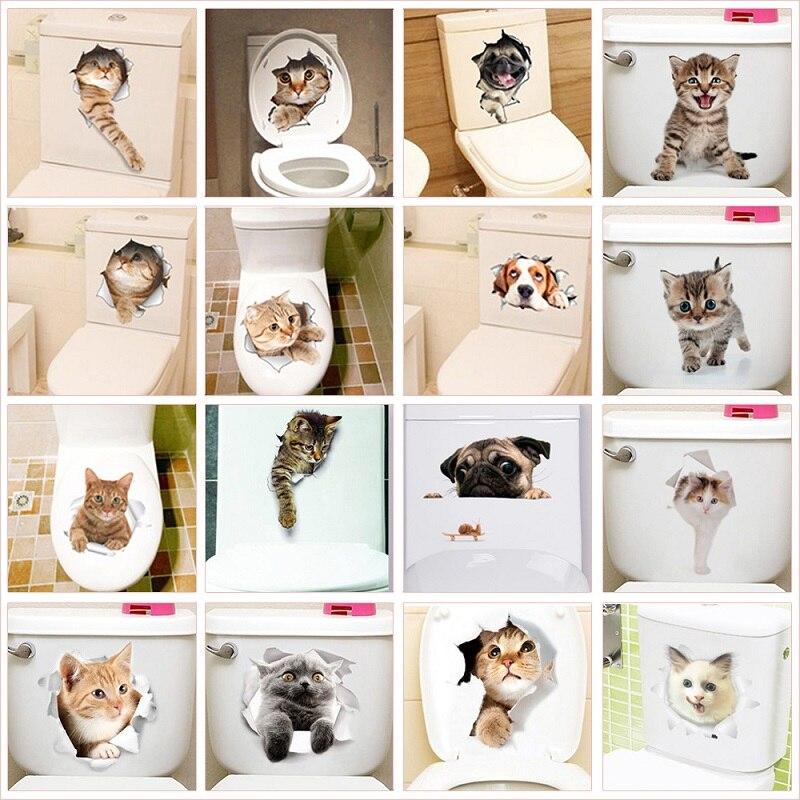 Lovely Cat Dog Toilet Stickers Home Decoration Diy Funny Cartoon Animal Wc Mural Art Vivid 3d Kitten Puppy Safari Pvc Wall Decal