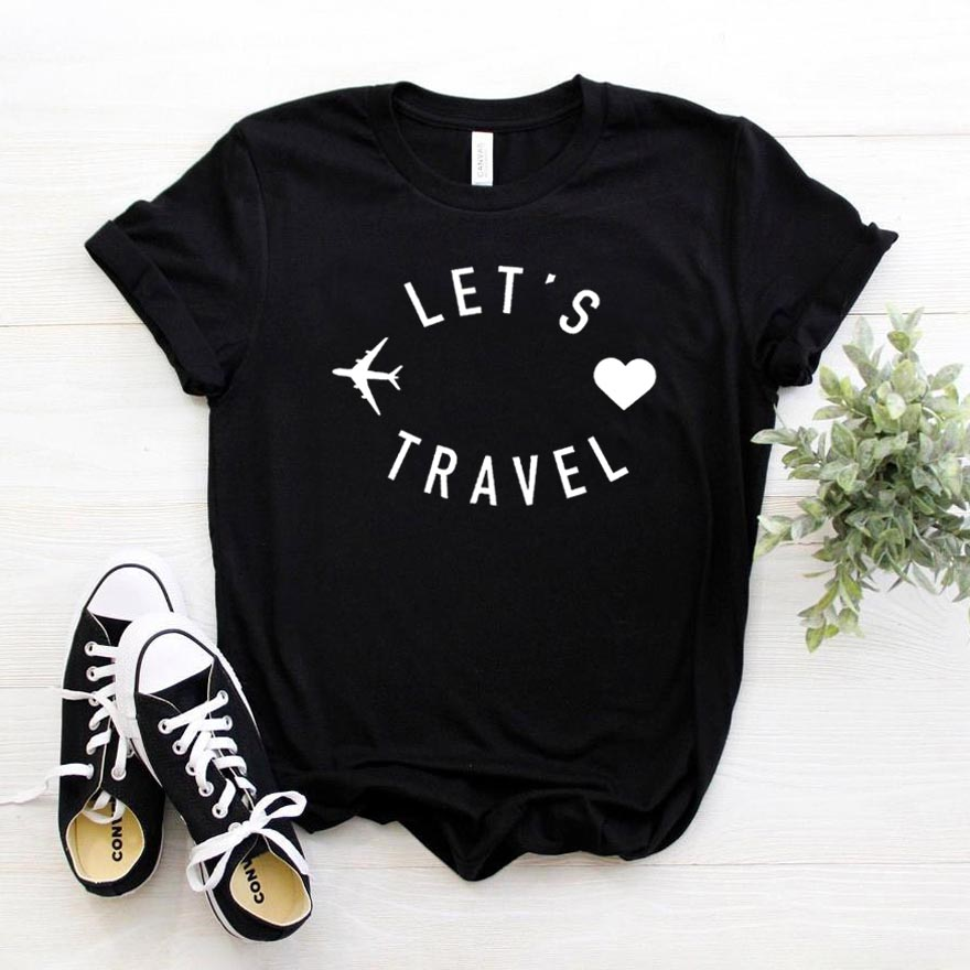 let's travel Women tshirt Cotton Casual Funny t shirt Gift For Lady Yong Girl Top Tee 6 Color Drop Ship S-800