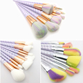 Unicorn Makeup Brushes 10 pcs Thread Rainbow full Professional Make Up Brushes set Blending Powder foundation contour Brush.