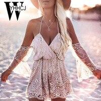 WYHHCJ 2018 sexy off shoulder women Jumpsuits strap v neck sleeveless loose summer playsuits patchwork sequins backless bodysuit