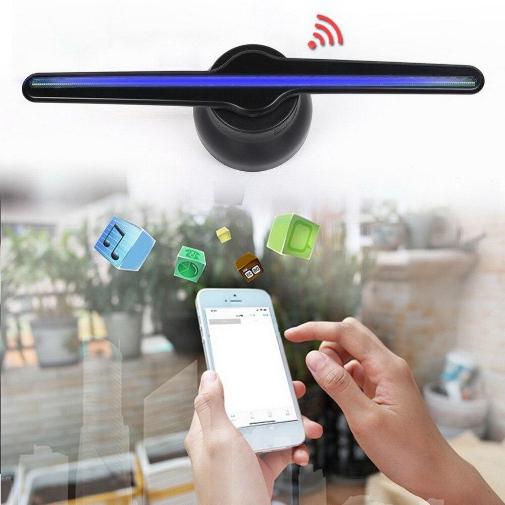 Atualizado 43 centímetros Wi-fi 3D Projetor Holográfico Holograma Player Display LED Publicidade Fã Luz Controle APP Jogador Da Propaganda
