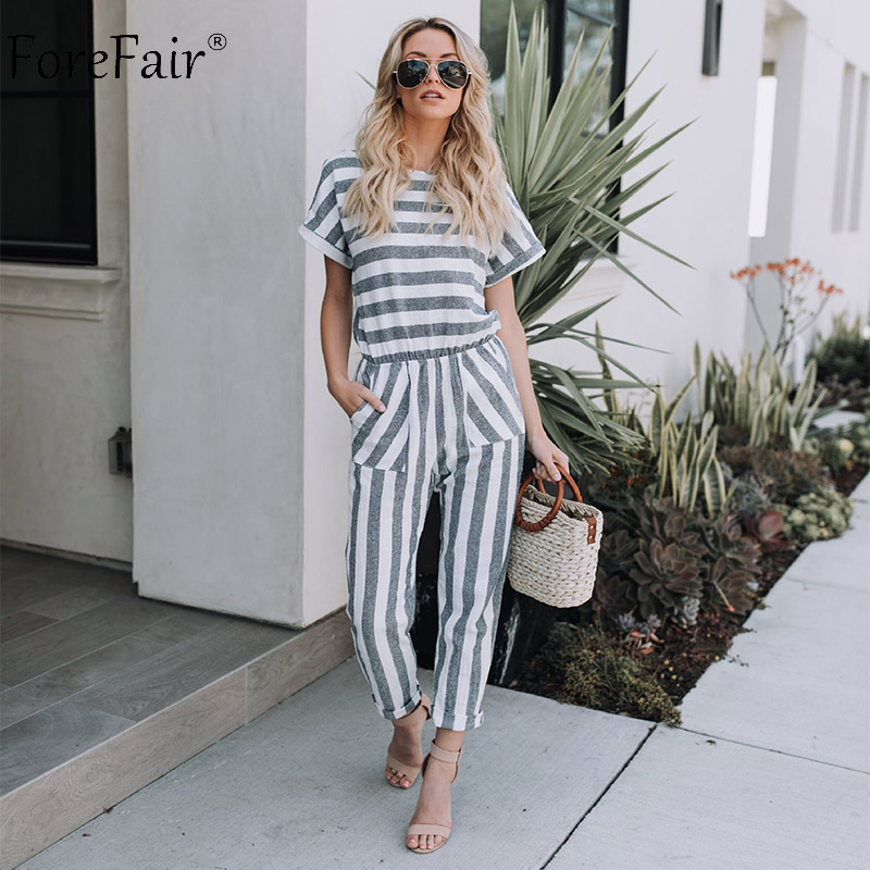 Forefair O Neck Striped Short Sleeve Jumpsuit Rompers Women Summer Casual High Waist Lon ...