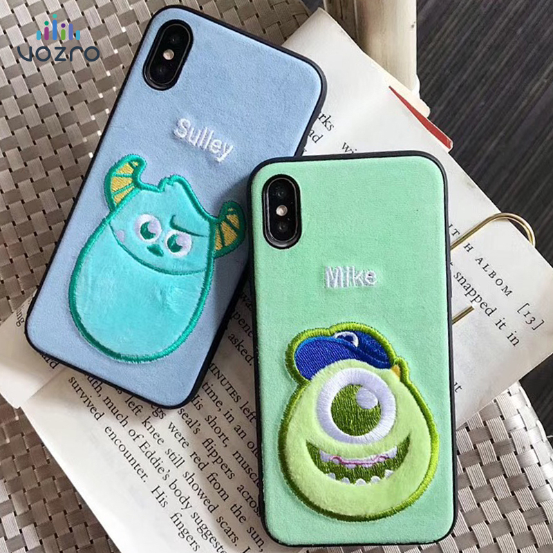 [Cartoon Embroidered] VOZRO Phone case For iPhone 6 6s 7 8 Plus X XR XS Max Bumper Telephone covers Accessories bag winnie the pooh iphone case