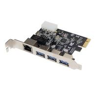 PCI Express Combo Card PCI E x1 to 3 Ports USB 3.0 Hub 10/100/1000Mbps Gigabit Ethernet RJ45 LAN Network Adapter For Desktop PC