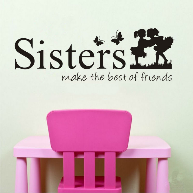 Twins Sisters Cute Silhouette Wall Sticker Girl Room Decoration Living Pictures Bedroom Stickers On