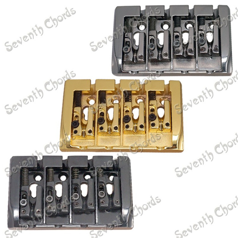 4 String Saddle Bridge for 4 String Electric Bass Replacement parts BA-1010 Black Gun color for choose 2pcs 4 string bridge l shape saddle bridge gold with screws allen wrench for bass guitar replacement