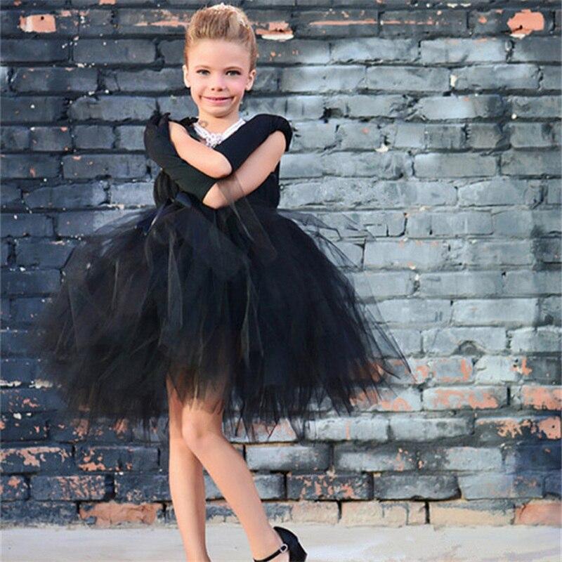 Elegant Black Kids Dresses For Girls Clothes Summer Strapless Tulle ...